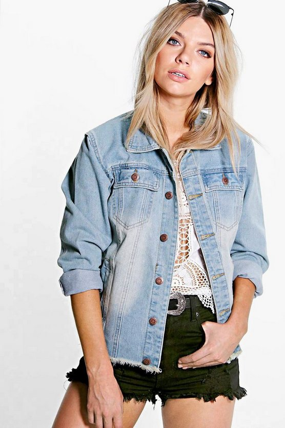 Womens Blue Frayed Vintage Wash Oversize Denim Jacket
