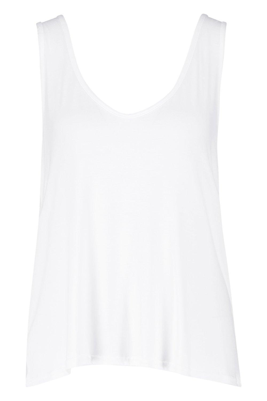 pico tirantes de con y de Camiseta trasera Blanco escote parte w6x8q