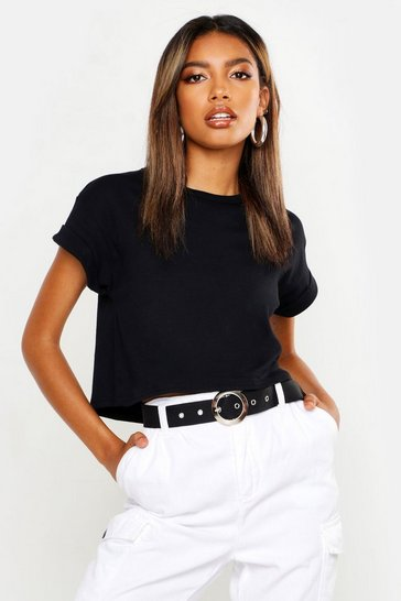 Womens Black Basic Roll Sleeve Crop Cotton T-Shirt