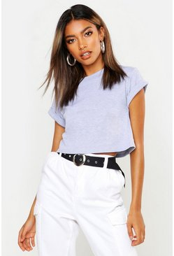 Grey marl Basic Roll Sleeve Crop T-Shirt