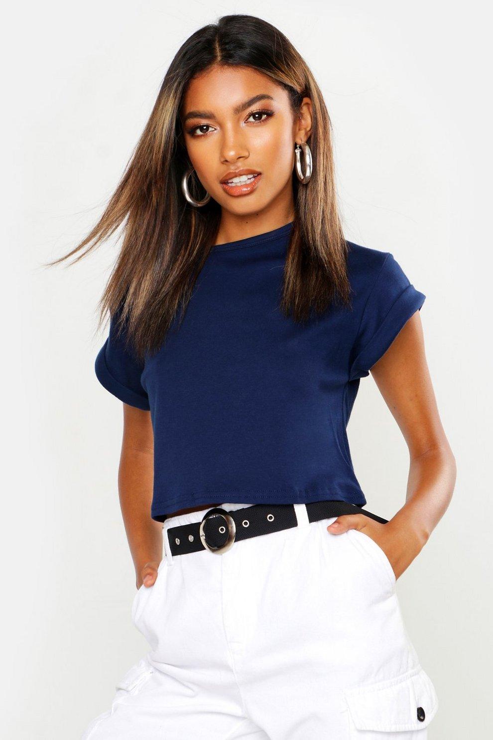 d3522101bb5d5 Basic Roll Sleeve Crop Cotton T-Shirt