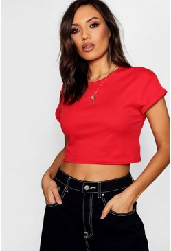 Red Basic Roll Sleeve Crop T-Shirt