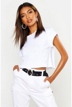 Womens White Basic Roll Sleeve Crop Cotton T-Shirt