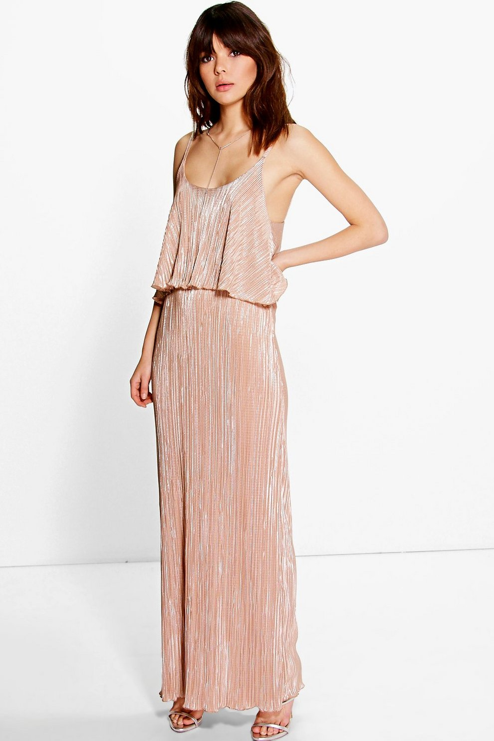 5a8eeb7ae1 Womens Peach Metallic Pleated Maxi Dress