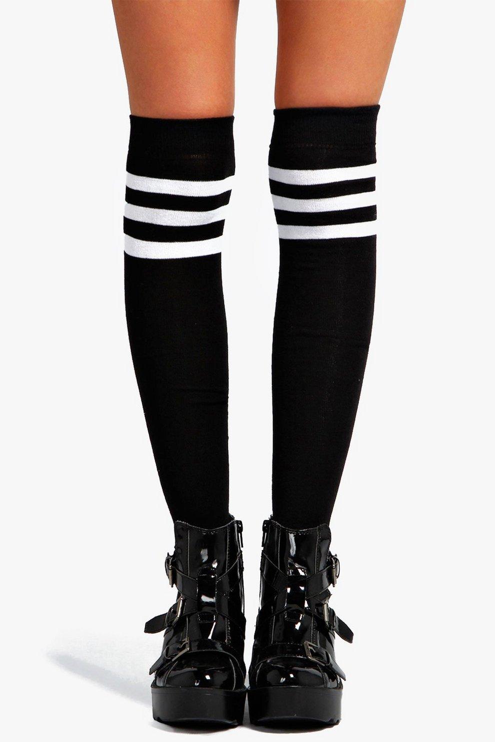 b6a29cb7f Womens Black Stripe Top Knee High Socks