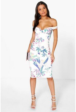 Womens Ivory Cleo Floral Sweetheart Off The Shoulder Midi Dress