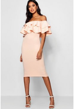 Blush Bardot Layered Frill Detail Midi Dress