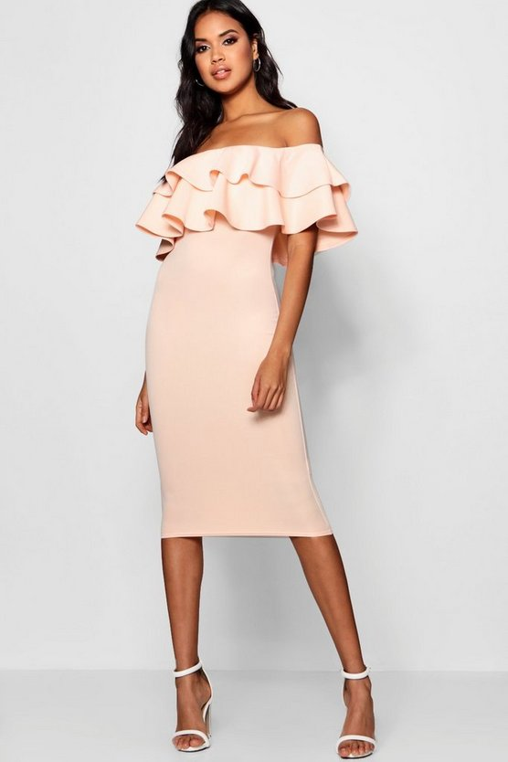 Womens Blush Bardot Layered Frill Detail Midi Dress