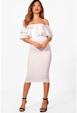 Ivory Bardot Layered Frill Detail Midi Dress