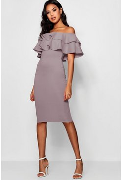Mauve Bardot Layered Frill Detail Midi Dress
