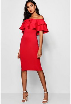 Womens Red Bardot Layered Frill Detail Midi Dress
