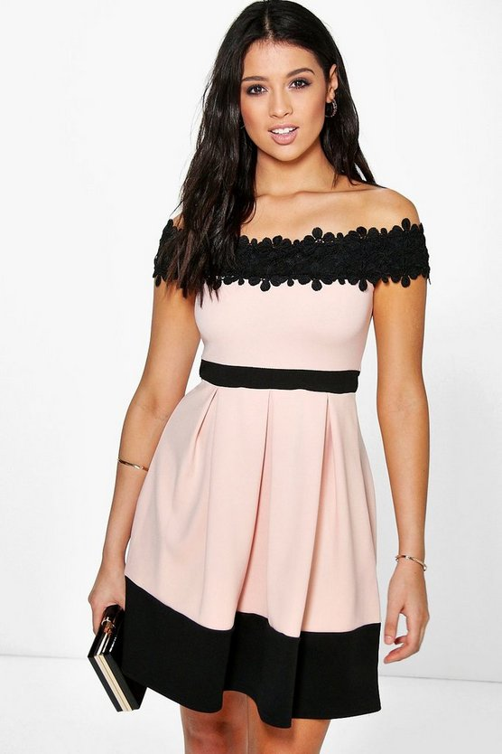 Lace Off The Shoulder Contrast Skater Dress