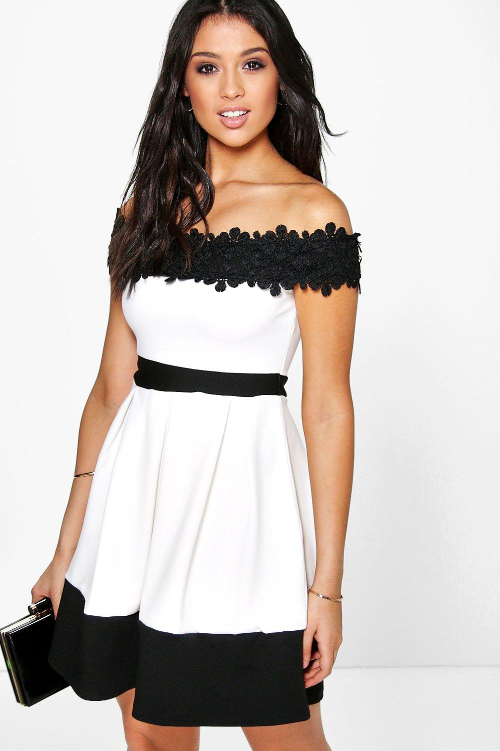0e25d10897 Lace Off The Shoulder Contrast Skater Dress. Hover to zoom