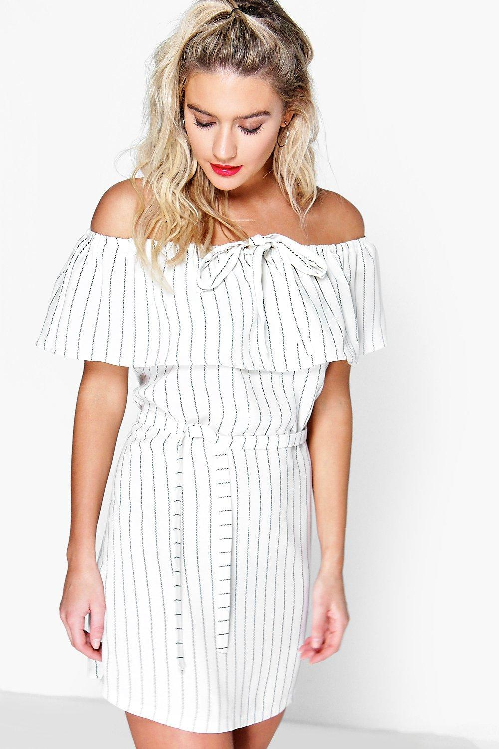 ca3237825748 Daria Pinstripe Off The Shoulder Dress. Hover to zoom
