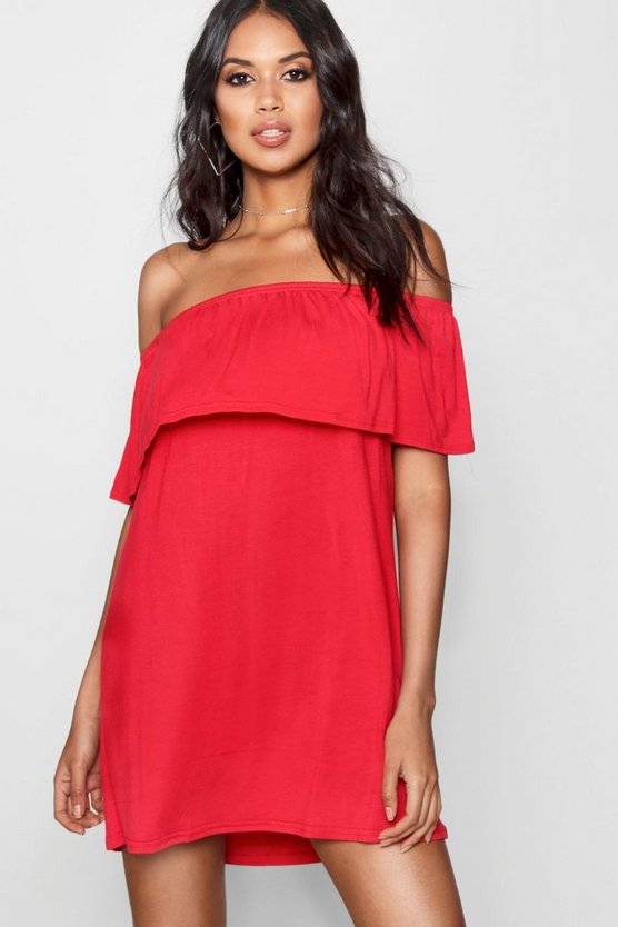 Womens Red Off The Shoulder Swing Dress