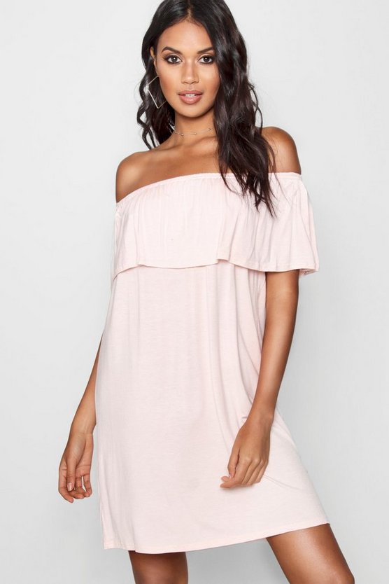 Shell Off The Shoulder Swing Dress
