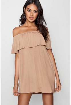 Womens Taupe Off The Shoulder Swing Dress