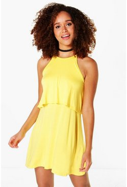 Womens Yellow Aggy Sleeveless Double Layer Swing Dress