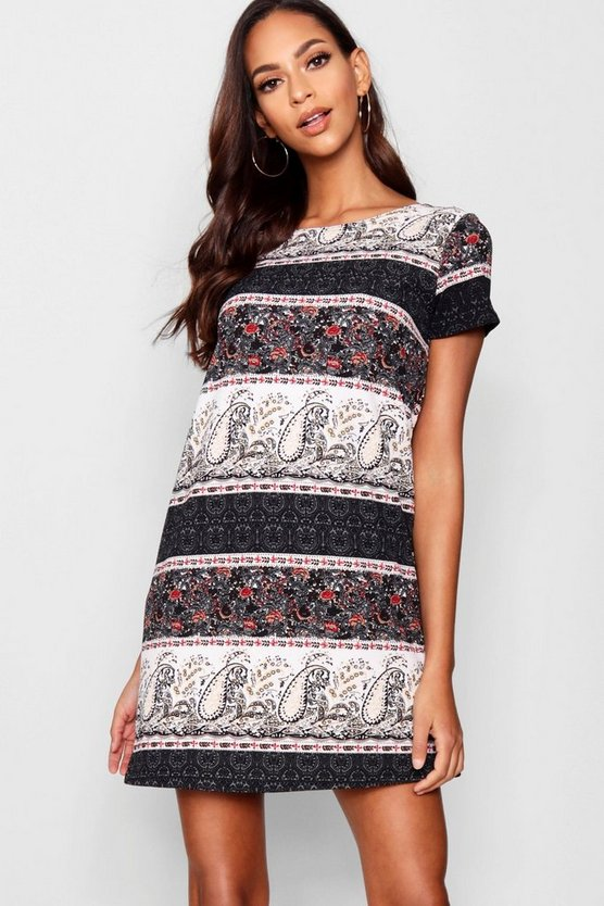 Border Print Paisley Shift Dress
