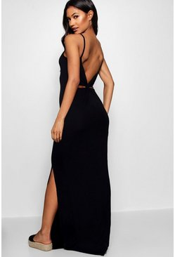 Womens Black Knot Cross Back Maxi Dress