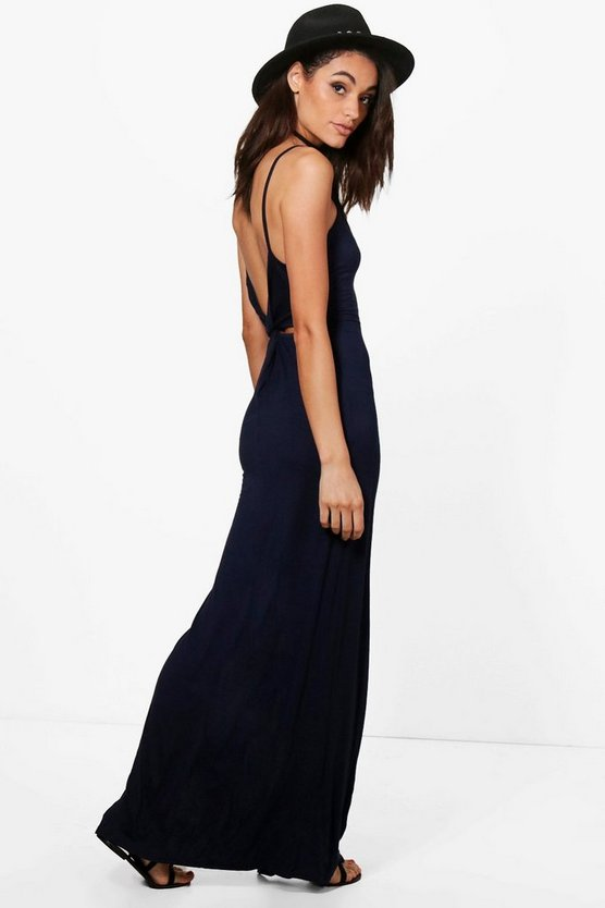 Womens Navy Knot Cross Back Maxi Dress