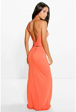 Orange Knot Cross Back Maxi Dress