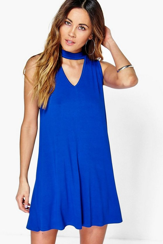 Plunge Choker Shift Dress