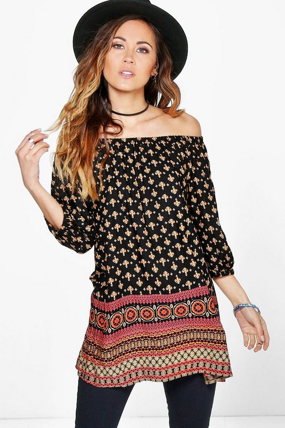 Faith Printed Woven Off The Shoulder Top
