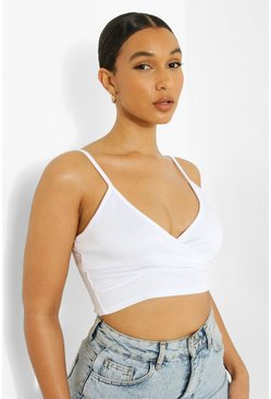Womens White Scuba Plunge Cross Bralet