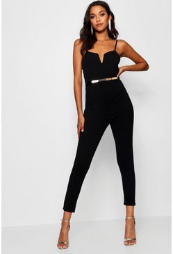 Womens Black Plunge Belted Jumpsuit