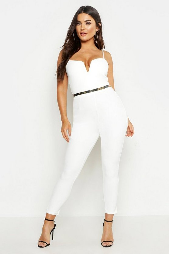 Womens Ivory Plunge Belted Jumpsuit