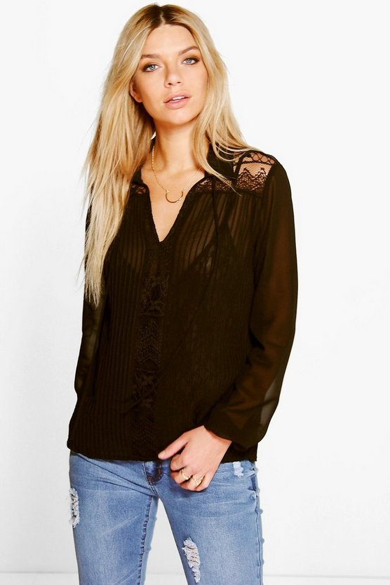 Black Tanya Pleated Lace Panel Tie Neck Blouse