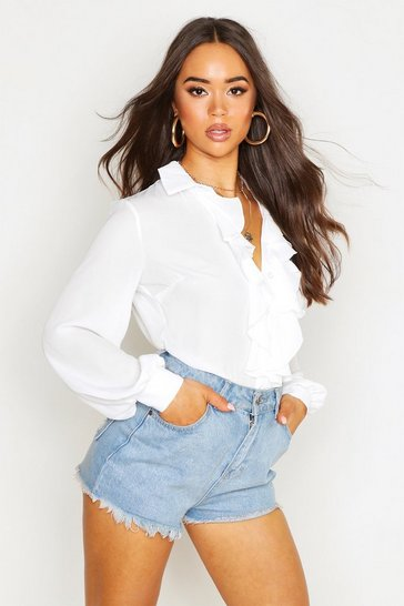 Womens Ivory Ruffle Detail Blouse