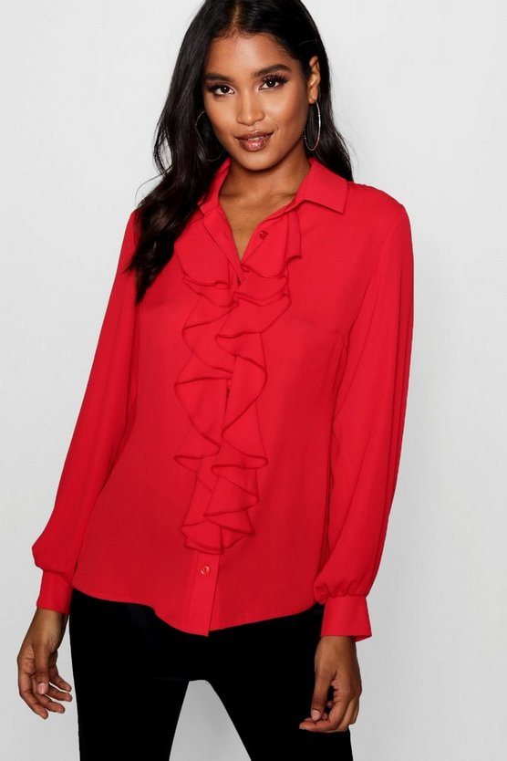 Womens Red Ruffle Detail Blouse