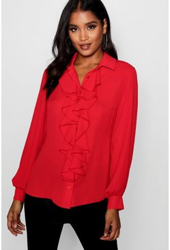 Blusa con balze, Red, Femmina