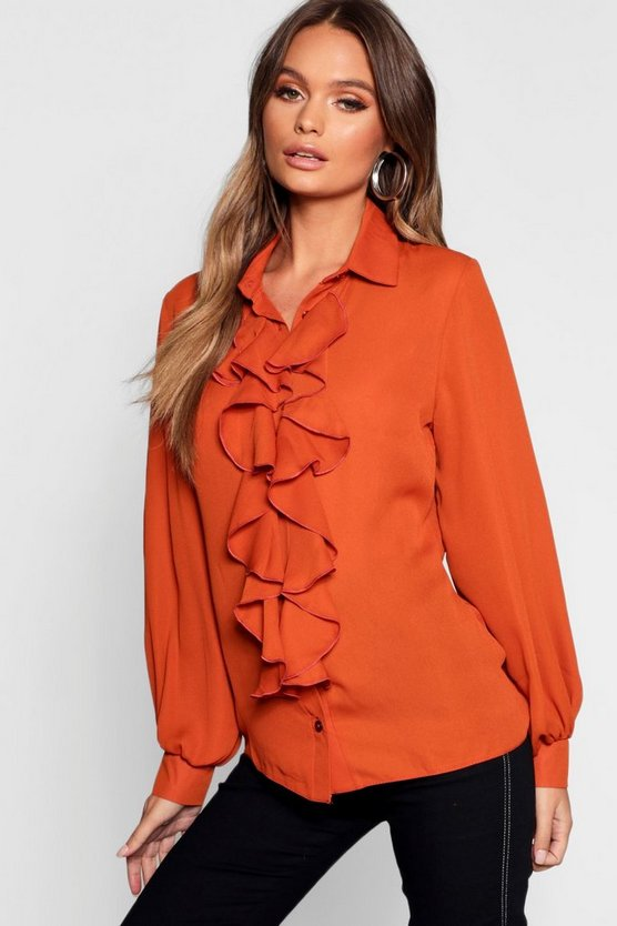 Womens Rust Ruffle Detail Blouse
