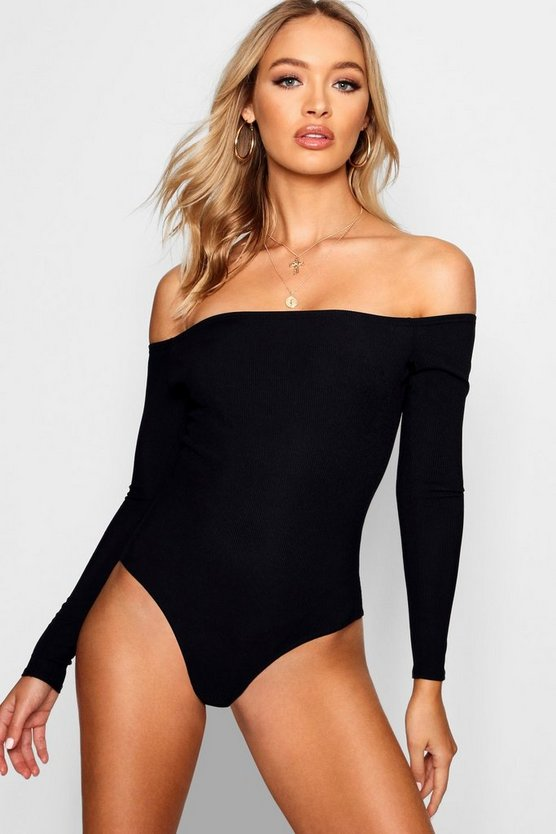 Basic Ribbed Off The Shoulder Bodysuit