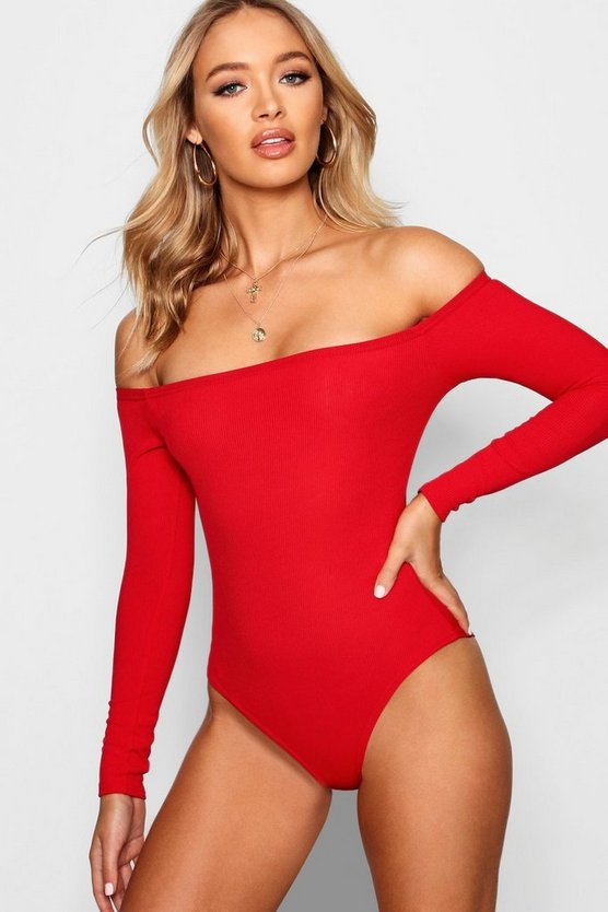 Womens Red Basic Ribbed Off The Shoulder Bodysuit