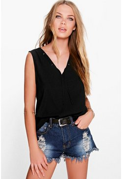 Womens Black Mia Lace Up Neck Detail V Neck Shell