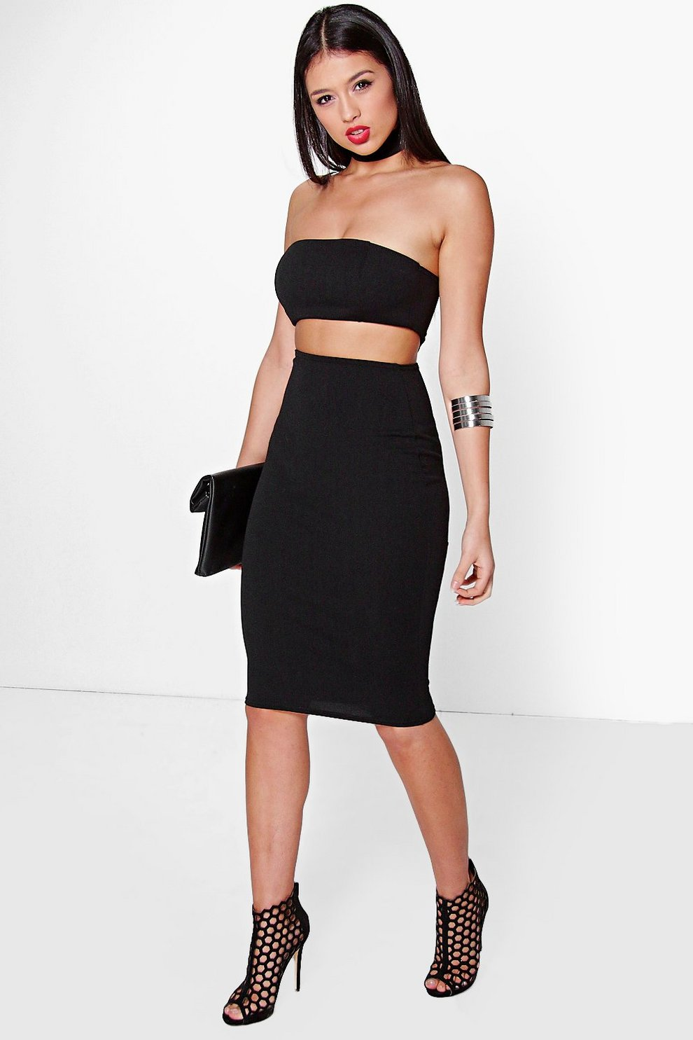 3a31149b471b Jelena Choker Cut Out Bandeau Midi Dress