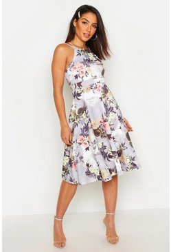 Womens Grey Floral Print Strappy Full Skater Dress