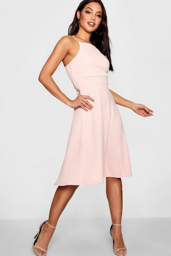 Textured Fabric Strappy Full Skater Dress