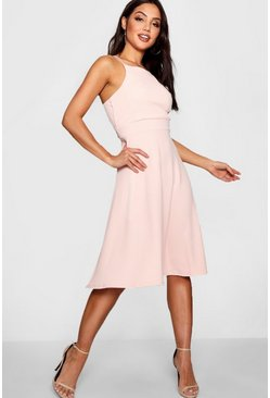 Womens Nude Textured Fabric Strappy Full Skater Dress