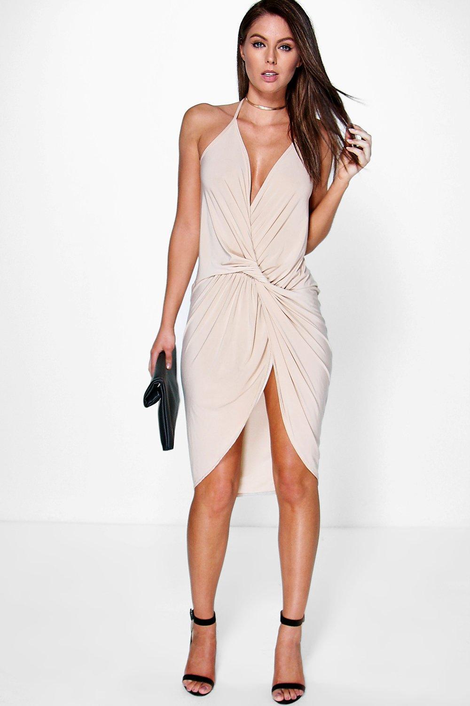 Devin Strappy Knot Drape Detail Midi Dress Boohoo