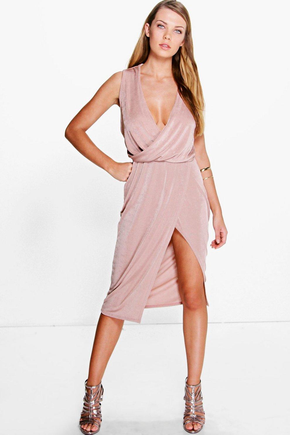 9cfaea2ed vestido midi elegante drapeado con falda cruzada hadley | Boohoo