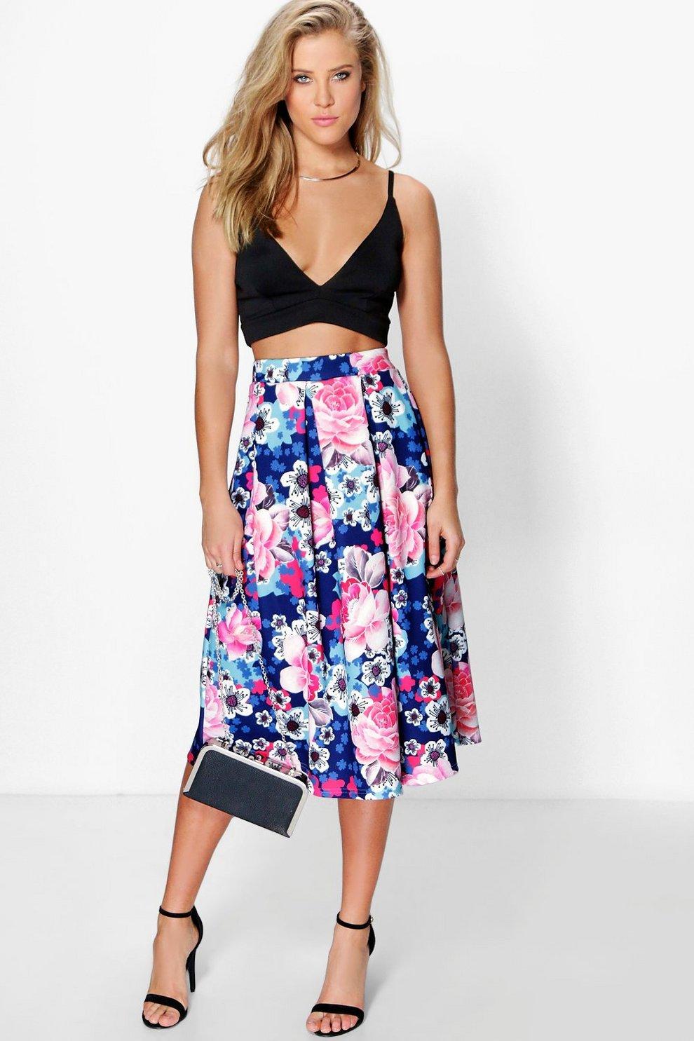 fb7b931b97b Sierra Bold Floral Print Full Midi Skirt