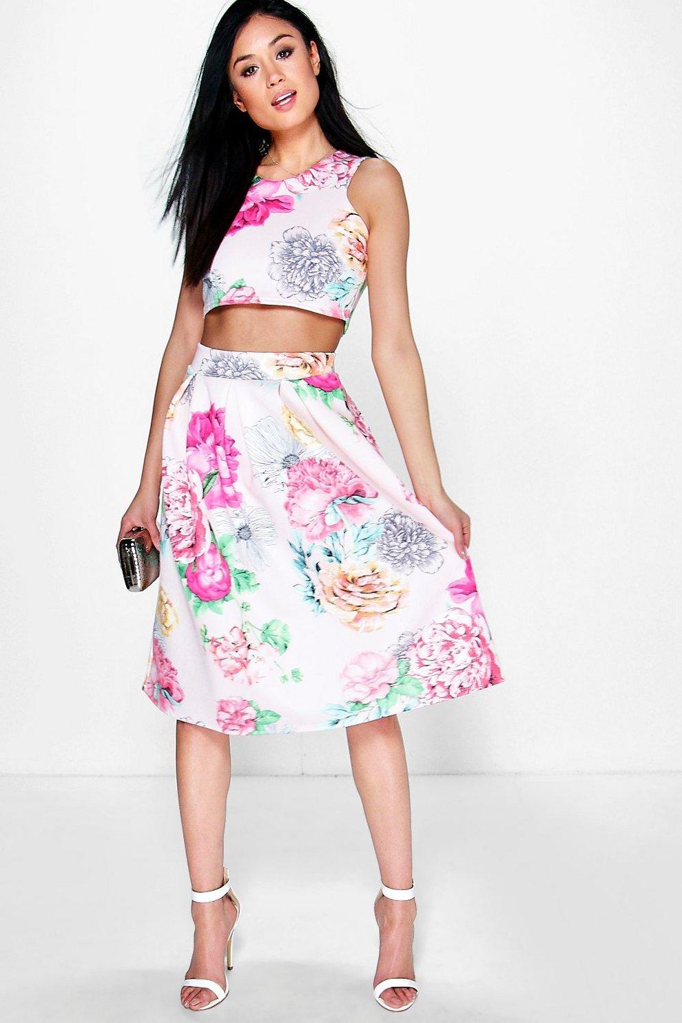 526440c1b93083 Visa Floral Box Pleat Midi Skirt Co-Ord Set | Boohoo