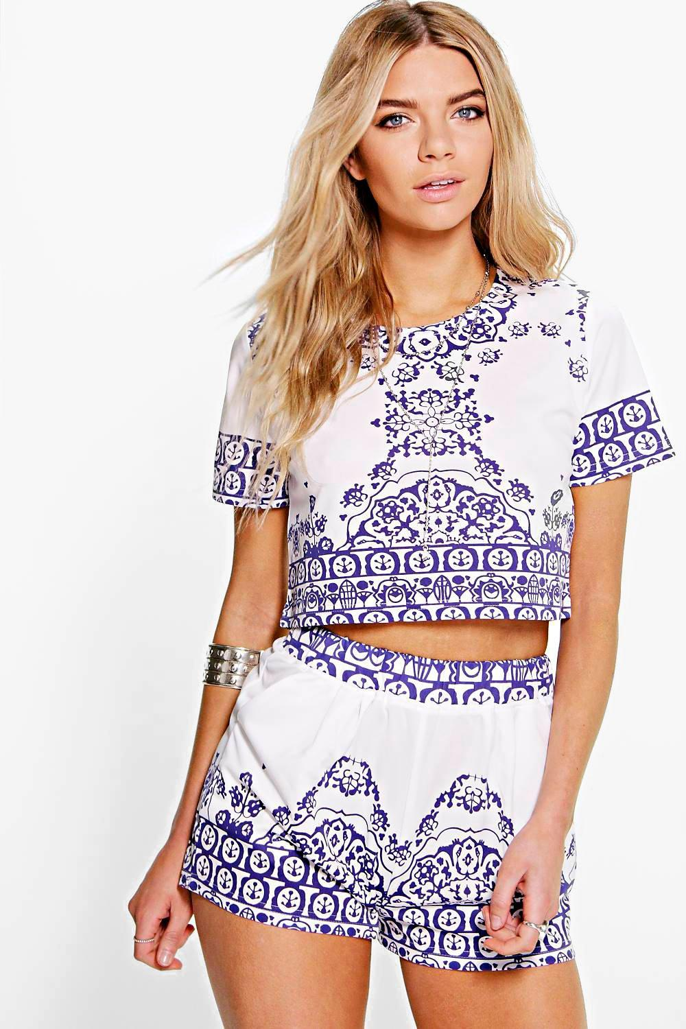 Ilioara Printed Top   Short Co-Ord Set  6a42d363b