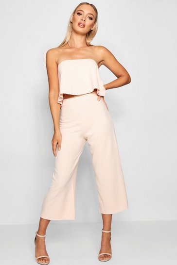 Womens Blush Bandeau Top & Culottes Co-Ord Set