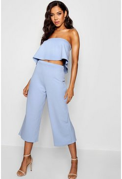 Womens Cornflower blue Bandeau Top & Culottes Co-Ord Set